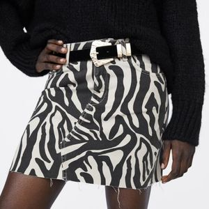NWT, ZARA Zebra Denim Skirt